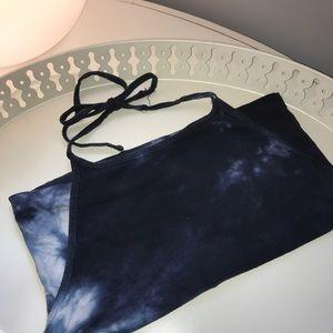 Brandy Melville indigo dyed halter top